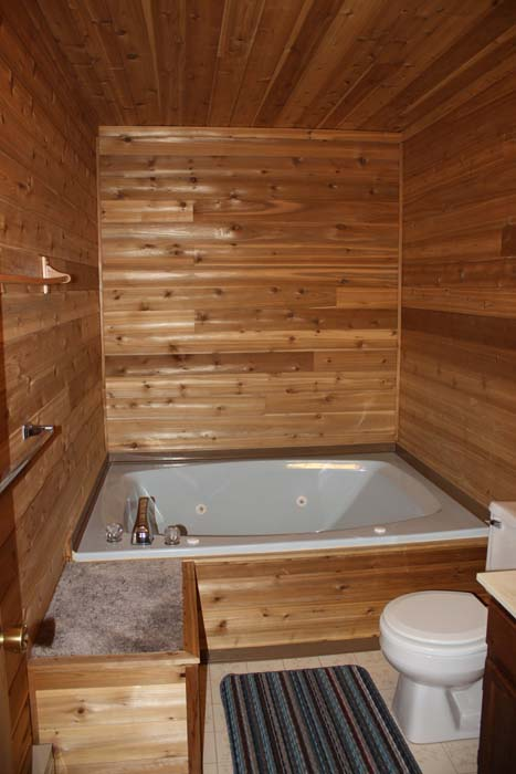Indianhead Valley Cedar Bathroom with hot tub